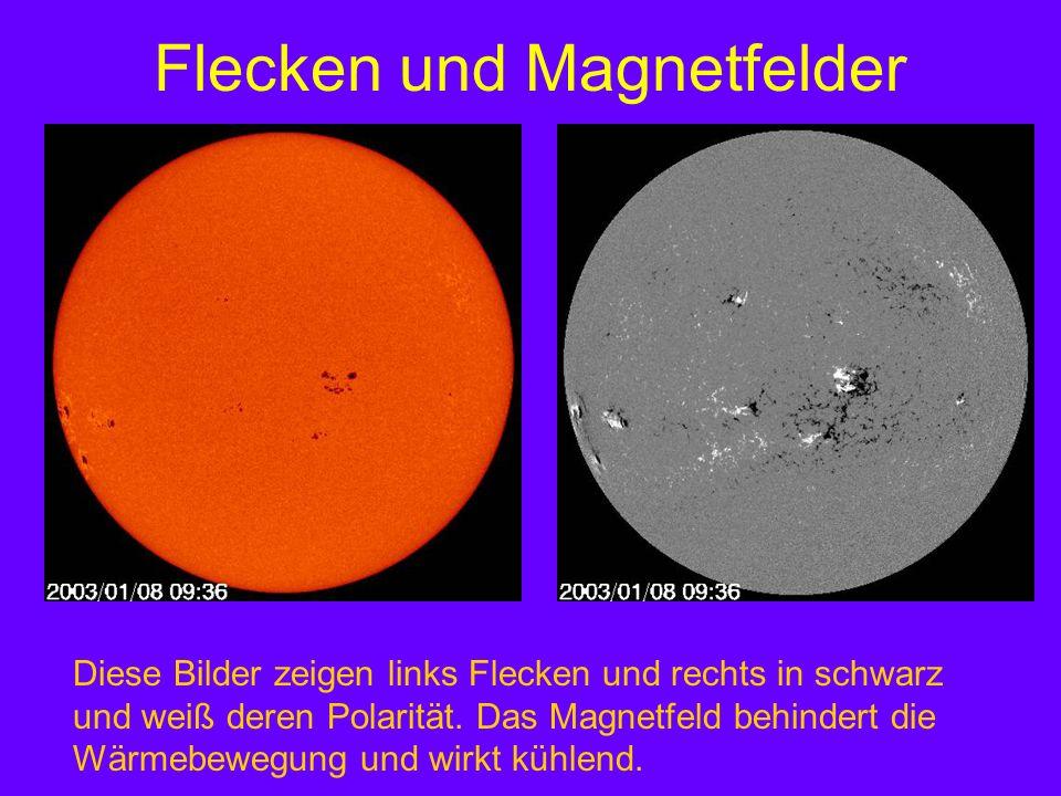 Flecken und Magnetfelder Diese Bilder zeigen links Flecken und rechts in schwarz und weiß deren Polarität. Das Magnetfeld behindert die Wärmebewegung