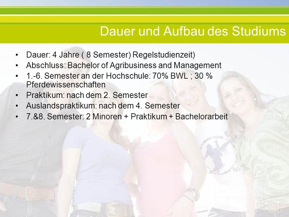 Dauer und Aufbau des Studiums Dauer: 4 Jahre ( 8 Semester) Regelstudienzeit) Abschluss: Bachelor of Agribusiness and Management 1.-6. Semester an der