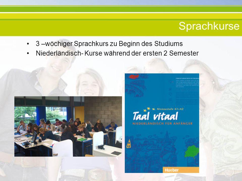 Sprachkurse 3 –wöchiger Sprachkurs zu Beginn des Studiums Niederländisch- Kurse während der ersten 2 Semester