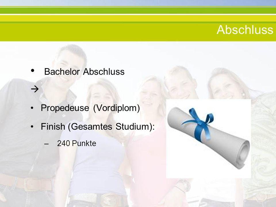 Abschluss Bachelor Abschluss Propedeuse (Vordiplom) Finish (Gesamtes Studium): – 240 Punkte