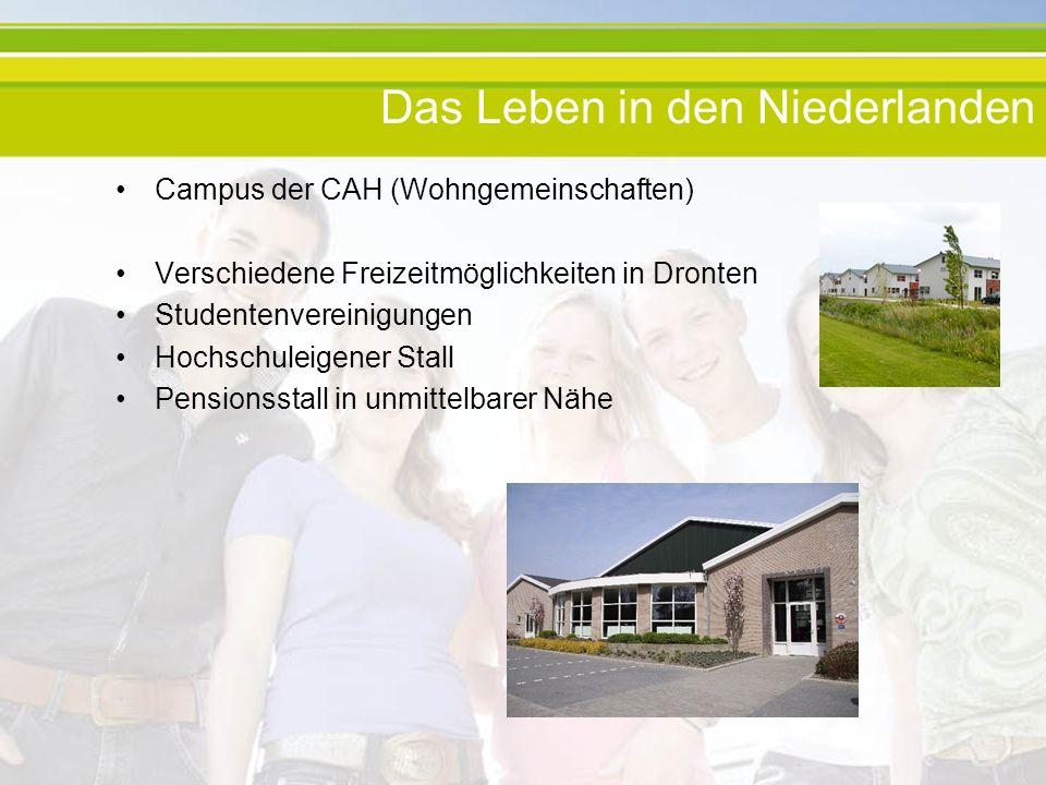 Das Leben in den Niederlanden Campus der CAH (Wohngemeinschaften) Verschiedene Freizeitmöglichkeiten in Dronten Studentenvereinigungen Hochschuleigener Stall Pensionsstall in unmittelbarer Nähe