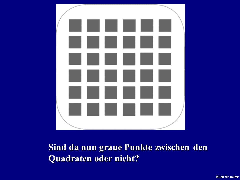 Sind da nun graue Punkte zwischen den Quadraten oder nicht? Klick für weiter