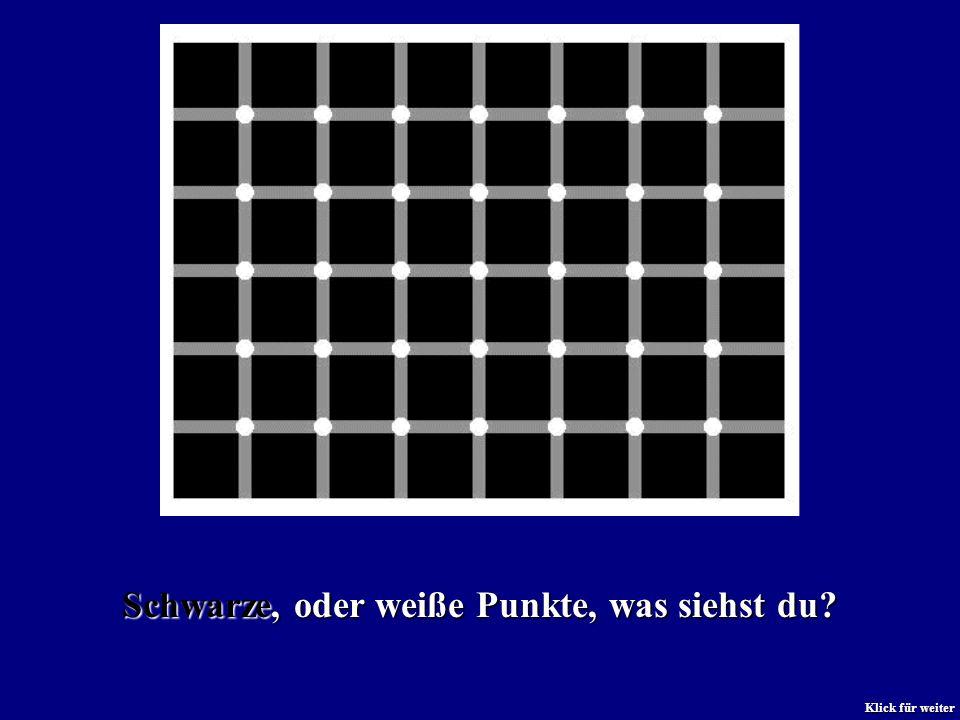 Sehen kannst du schwarze und weiße Punkte, es sind aber nur weiße da. Klick für weiter