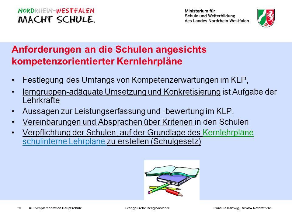 KLP-Implementation Hauptschule Evangelische Religionslehre Cordula Hartwig, MSW – Referat 53220 Anforderungen an die Schulen angesichts kompetenzorien