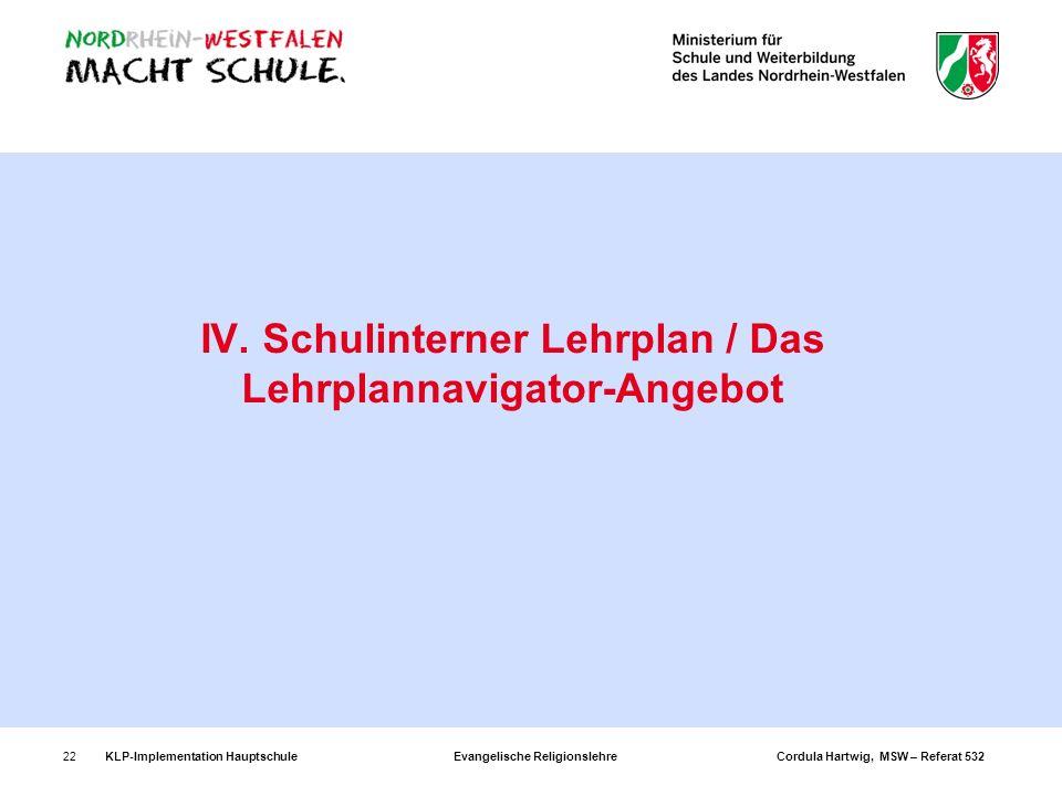 KLP-Implementation Hauptschule Evangelische Religionslehre Cordula Hartwig, MSW – Referat 53222 IV. Schulinterner Lehrplan / Das Lehrplannavigator-Ang