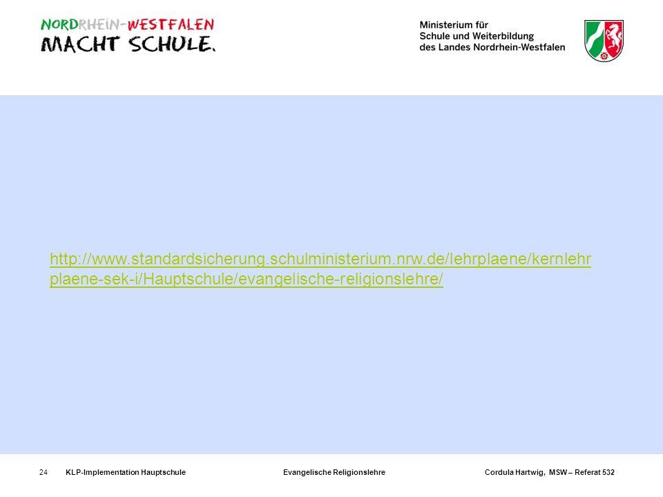KLP-Implementation Hauptschule Evangelische Religionslehre Cordula Hartwig, MSW – Referat 53224 http://www.standardsicherung.schulministerium.nrw.de/l