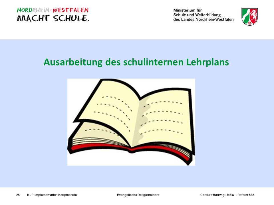 KLP-Implementation Hauptschule Evangelische Religionslehre Cordula Hartwig, MSW – Referat 53225 Ausarbeitung des schulinternen Lehrplans