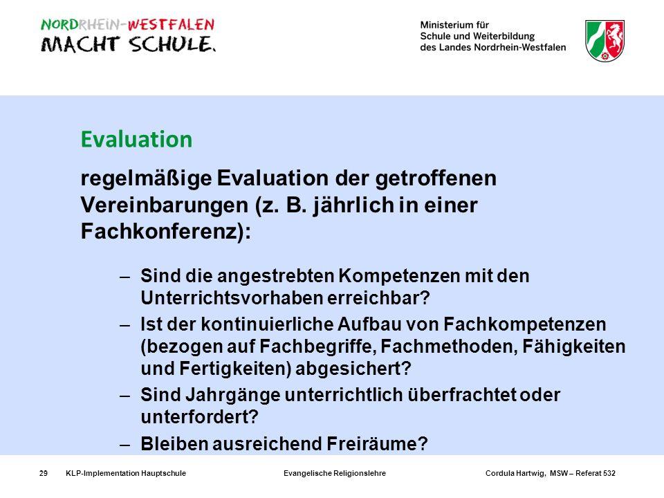 KLP-Implementation Hauptschule Evangelische Religionslehre Cordula Hartwig, MSW – Referat 53229 Evaluation regelmäßige Evaluation der getroffenen Vere