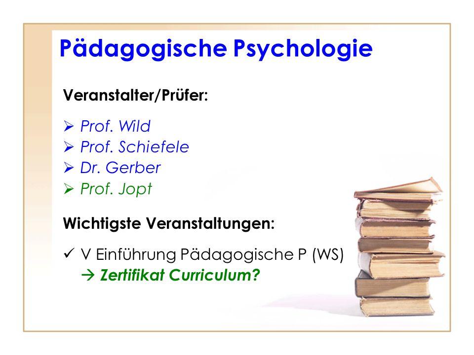 Veranstalter/Prüfer: Prof. Wild Prof. Schiefele Dr. Gerber Prof. Jopt Wichtigste Veranstaltungen: V Einführung Pädagogische P (WS) Zertifikat Curricul