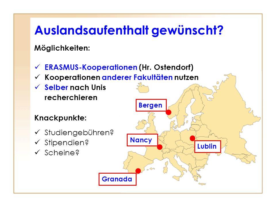 Auslandsaufenthalt gewünscht? k Möglichkeiten: ERASMUS-Kooperationen (Hr. Ostendorf) Kooperationen anderer Fakultäten nutzen Selber nach Unis recherch