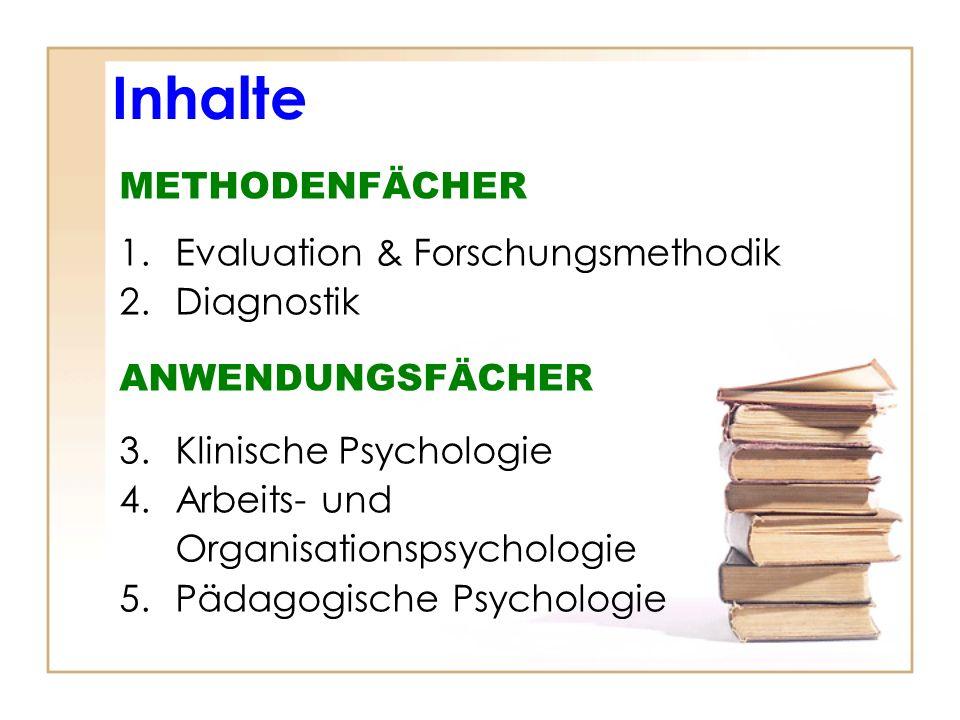 Inhalte METHODENFÄCHER 1.Evaluation & Forschungsmethodik 2.Diagnostik ANWENDUNGSFÄCHER 3.Klinische Psychologie 4.Arbeits- und Organisationspsychologie