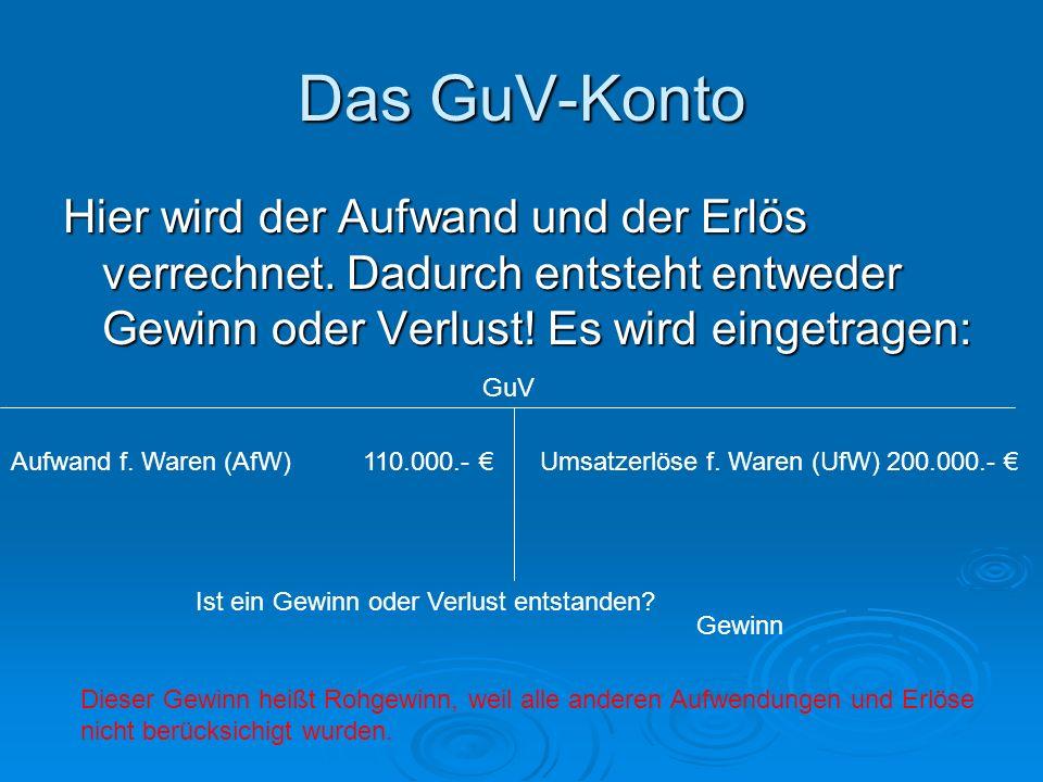 Das GuV-Konto Hier wird der Aufwand und der Erlös verrechnet. Dadurch entsteht entweder Gewinn oder Verlust! Es wird eingetragen: GuV Aufwand f. Waren