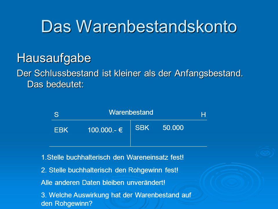 Das Warenbestandskonto Hausaufgabe Der Schlussbestand ist kleiner als der Anfangsbestand. Das bedeutet: EBK 100.000.- SBK 50.000 Warenbestand SH 1.Ste
