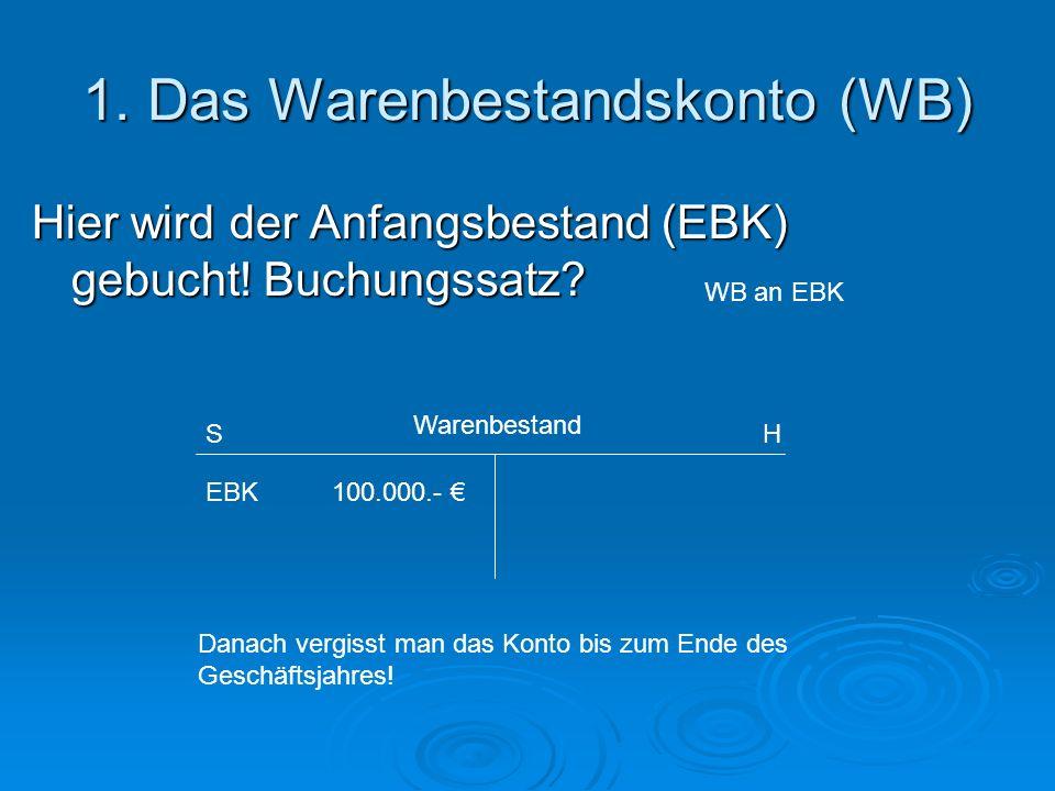 1. Das Warenbestandskonto (WB) Hier wird der Anfangsbestand (EBK) gebucht! Buchungssatz? EBK 100.000.- Danach vergisst man das Konto bis zum Ende des
