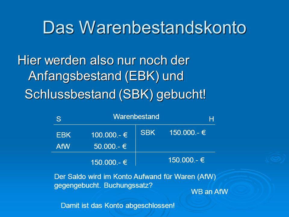 Das Warenbestandskonto Hier werden also nur noch der Anfangsbestand (EBK) und Schlussbestand (SBK) gebucht! Schlussbestand (SBK) gebucht! EBK 100.000.
