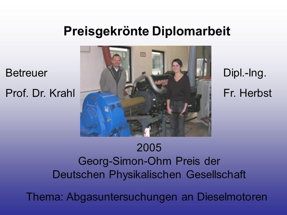Preisgekrönte Diplomarbeit 2005 Georg-Simon-Ohm Preis der Deutschen Physikalischen Gesellschaft Thema: Abgasuntersuchungen an Dieselmotoren Dipl.-Ing.