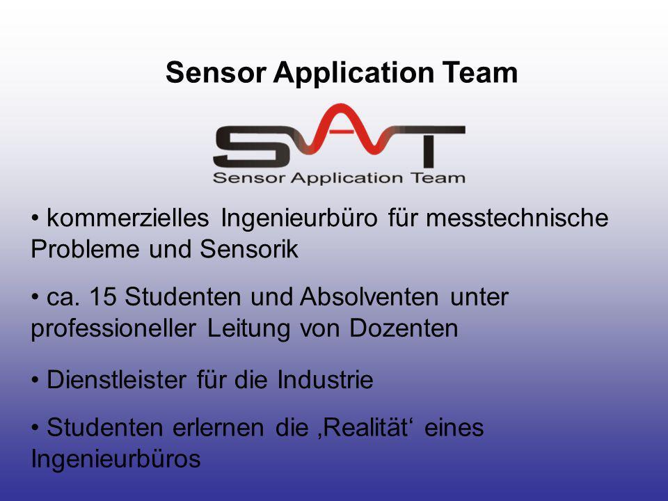 Sensor Application Team kommerzielles Ingenieurbüro für messtechnische Probleme und Sensorik ca. 15 Studenten und Absolventen unter professioneller Le