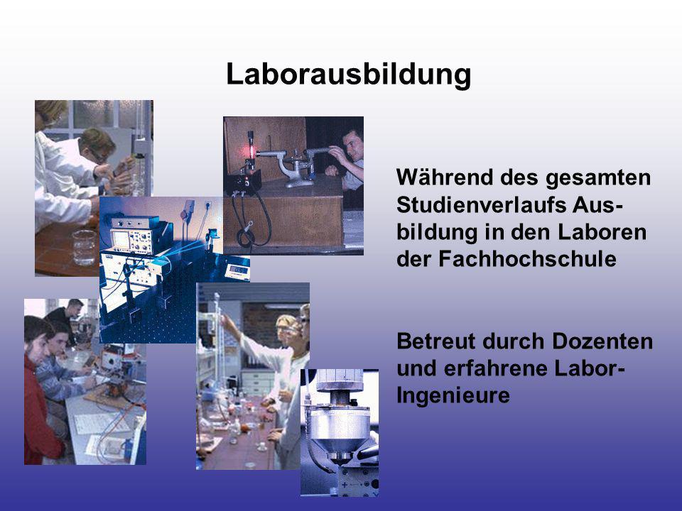Laborausbildung Während des gesamten Studienverlaufs Aus- bildung in den Laboren der Fachhochschule Betreut durch Dozenten und erfahrene Labor- Ingeni