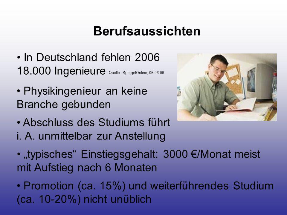 Berufsaussichten In Deutschland fehlen 2006 18.000 Ingenieure Quelle: SpiegelOnline, 06.06.06 Abschluss des Studiums führt i. A. unmittelbar zur Anste