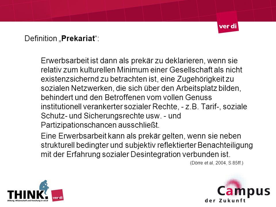 Definition Prekariat: Erwerbsarbeit ist dann als prekär zu deklarieren, wenn sie relativ zum kulturellen Minimum einer Gesellschaft als nicht existenz