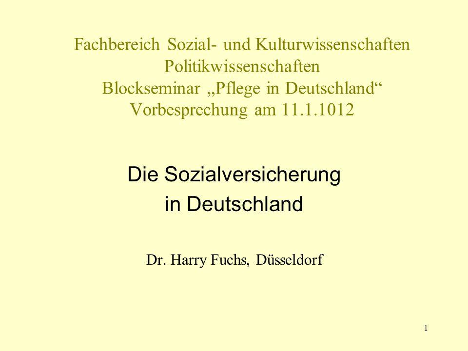 1 Fachbereich Sozial- und Kulturwissenschaften Politikwissenschaften Blockseminar Pflege in Deutschland Vorbesprechung am 11.1.1012 Die Sozialversiche