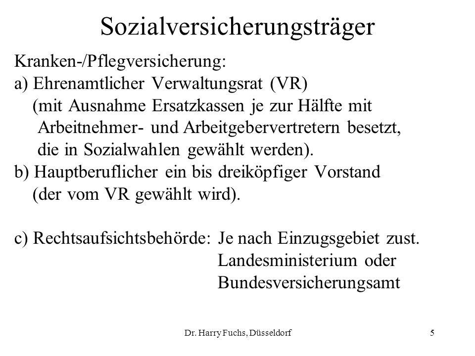 Dr. Harry Fuchs, Düsseldorf5 Sozialversicherungsträger Kranken-/Pflegversicherung: a) Ehrenamtlicher Verwaltungsrat (VR) (mit Ausnahme Ersatzkassen je