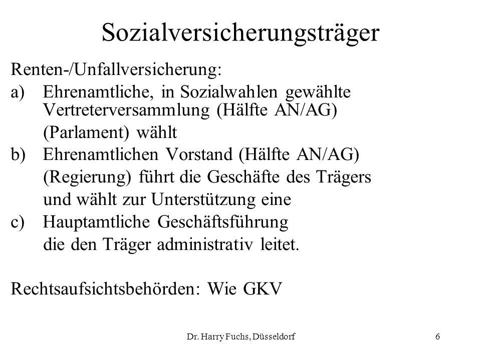 Dr. Harry Fuchs, Düsseldorf6 Sozialversicherungsträger Renten-/Unfallversicherung: a)Ehrenamtliche, in Sozialwahlen gewählte Vertreterversammlung (Häl