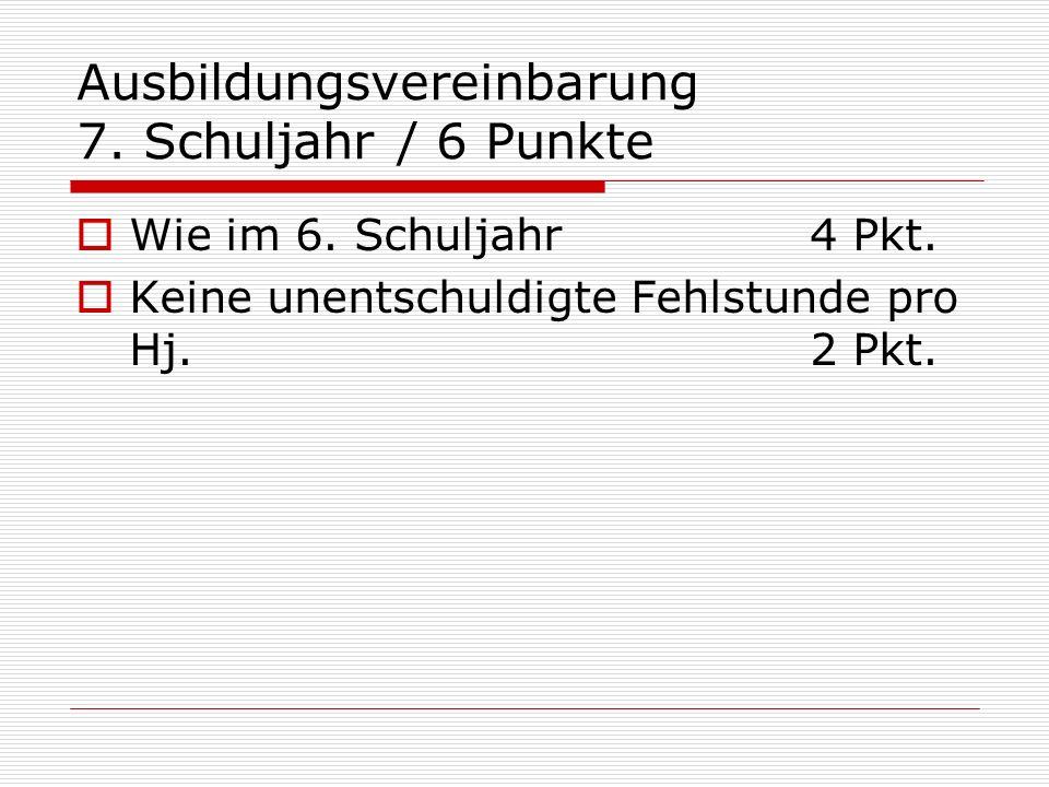 Ausbildungsvereinbarung 7. Schuljahr / 6 Punkte Wie im 6. Schuljahr4 Pkt. Keine unentschuldigte Fehlstunde pro Hj. 2 Pkt.