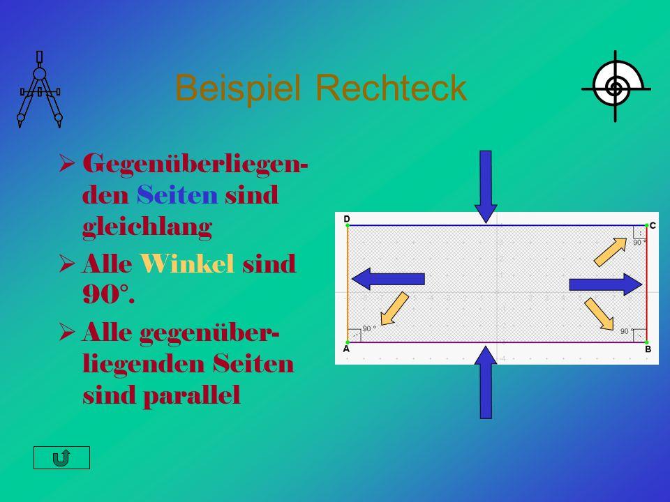 Beispiel Rechteck Gegenüberliegen- den Seiten sind gleichlang Alle Winkel sind 90°. Alle gegenüber- liegenden Seiten sind parallel