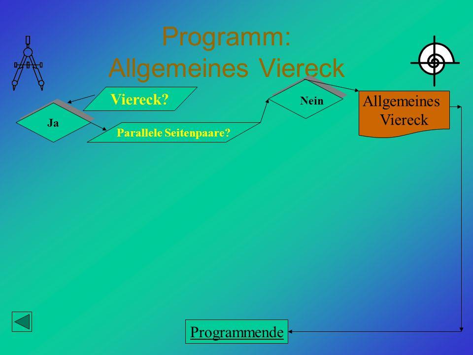 Programm: Allgemeines Viereck Viereck? Ja Parallele Seitenpaare? Allgemeines Viereck Nein Programmende