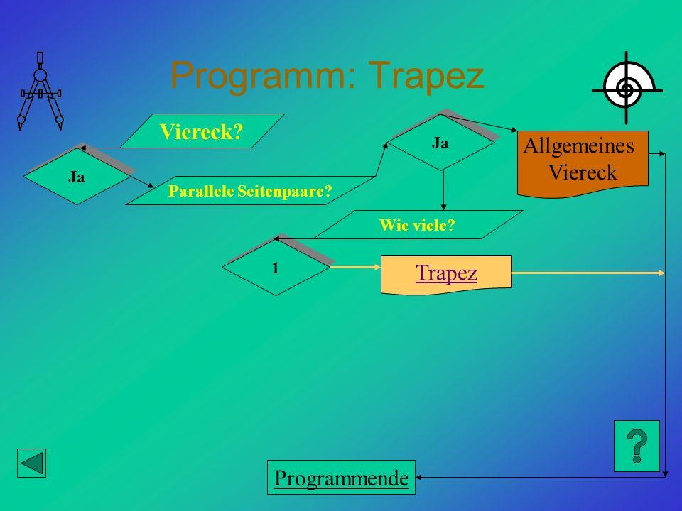 Programm: Trapez Viereck? Ja Parallele Seitenpaare? Trapez Allgemeines Viereck Ja Wie viele? 1 1 Programmende