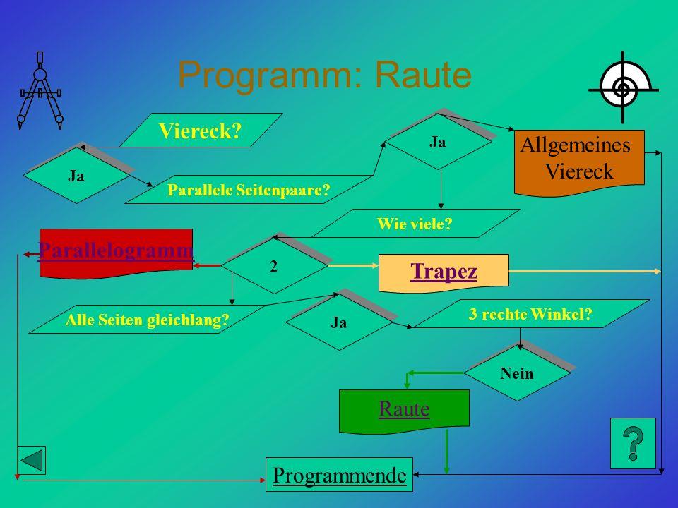 Programm: Raute Viereck? Ja Parallele Seitenpaare? Trapez Allgemeines Viereck Parallelogramm Ja Wie viele? 2 2 Alle Seiten gleichlang? Ja 3 rechte Win