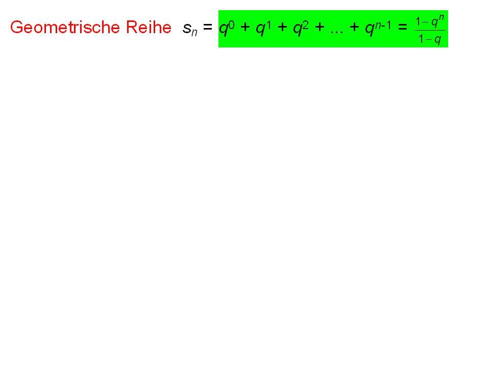 1/2 + 1/4 + 1/8 + 1/16 +... = 1 unendlich viele Zahlen endliches Ergebnis