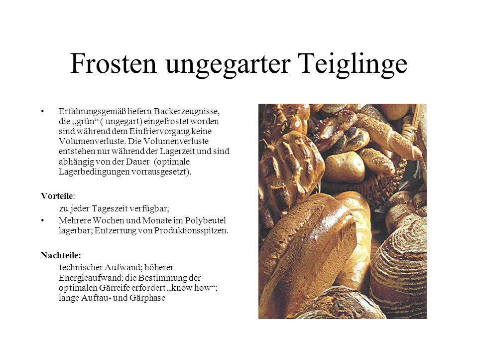 Frosten ungegarter Teiglinge Erfahrungsgemäß liefern Backerzeugnisse, die grün ( ungegart) eingefrostet worden sind während dem Einfriervorgang keine