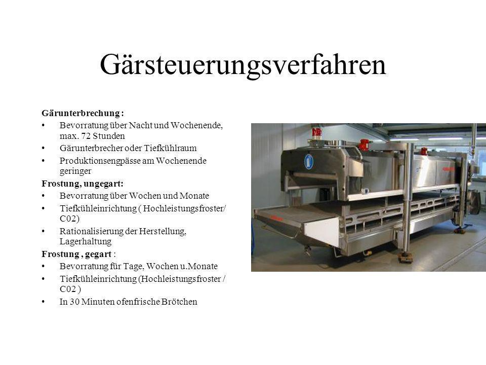 Gärsteuerungsverfahren Gärunterbrechung : Bevorratung über Nacht und Wochenende, max. 72 Stunden Gärunterbrecher oder Tiefkühlraum Produktionsengpässe