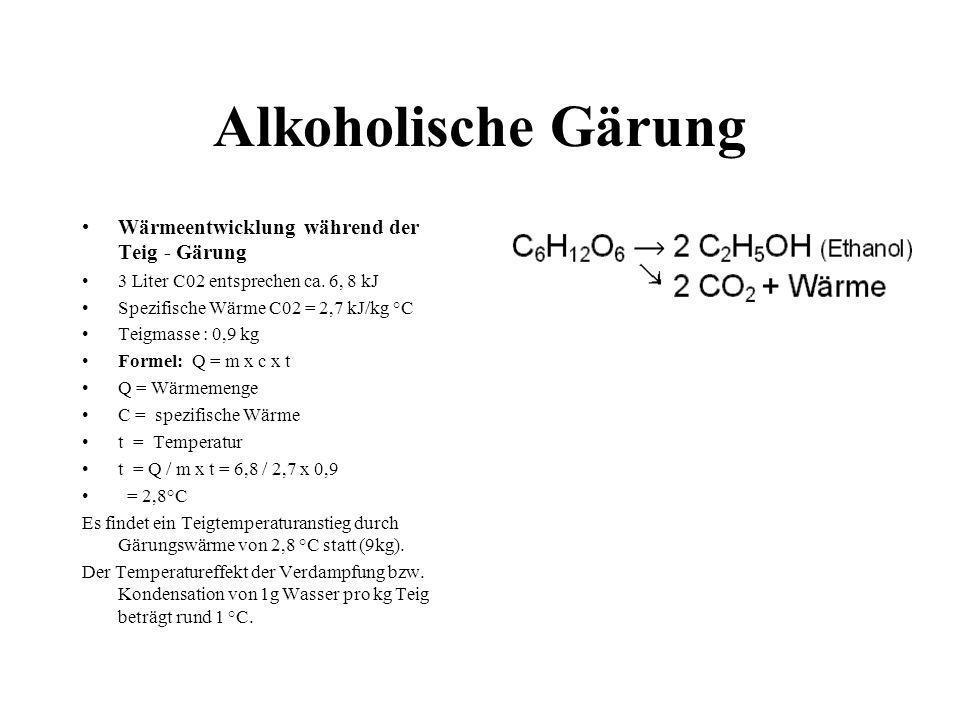 Alkoholische Gärung Wärmeentwicklung während der Teig - Gärung 3 Liter C02 entsprechen ca. 6, 8 kJ Spezifische Wärme C02 = 2,7 kJ/kg °C Teigmasse : 0,