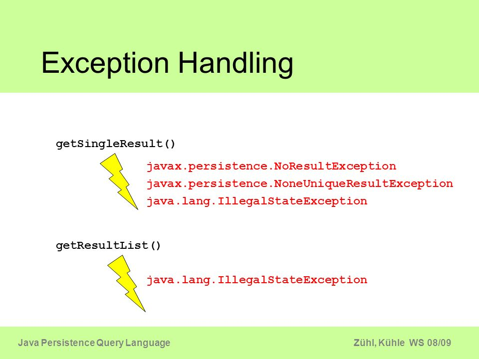 Zühl, Kühle WS 08/09Java Persistence Query Language Exception Handling getSingleResult() javax.persistence.NoResultException javax.persistence.NoneUni
