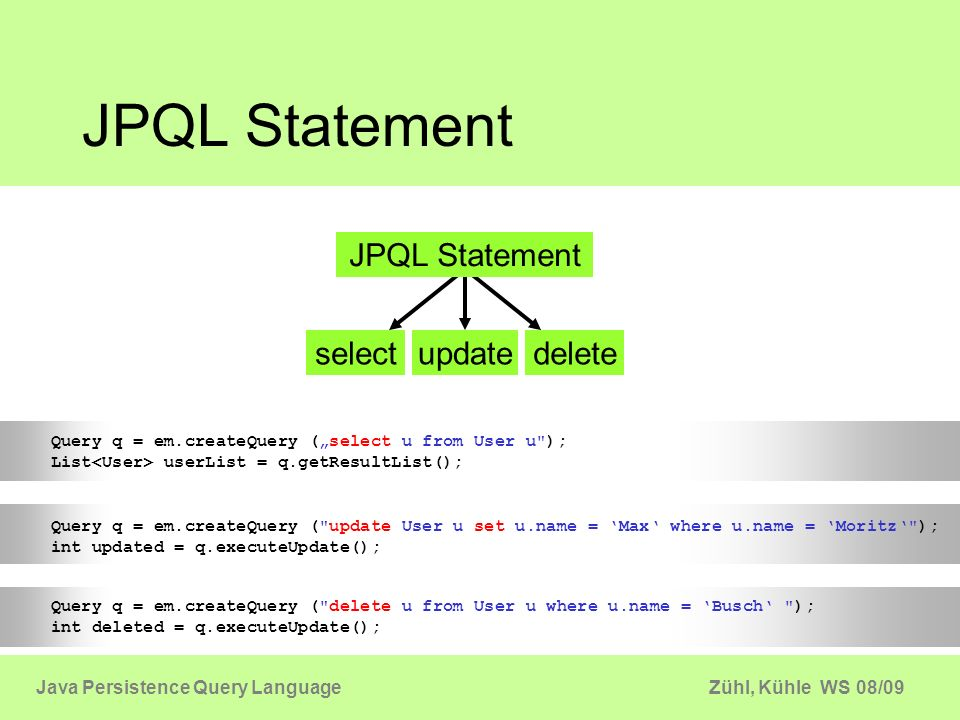 Zühl, Kühle WS 08/09Java Persistence Query Language JPQL Statement Query q = em.createQuery (select u from User u