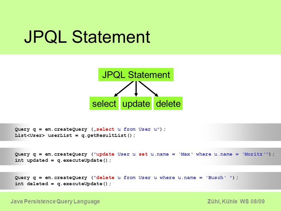 Zühl, Kühle WS 08/09Java Persistence Query Language Datenabfrage Query API Primary Key JPQL Query NamedQuery NativeQuery EntityManager em; em.find(...); q = em.createQuery(...) Query q; q = em.createNativeQuery(...) q = em.createNamedQuery(...) EntityManager Datenabfrage
