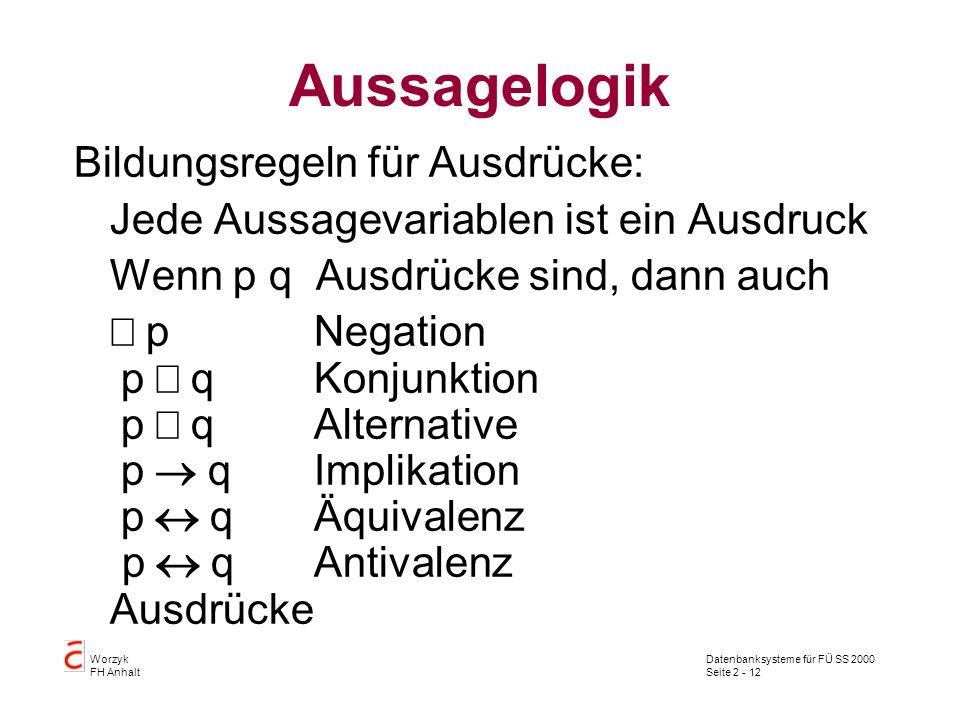 Datenbanksysteme für FÜ SS 2000 Seite 2 - 12 Worzyk FH Anhalt Aussagelogik Bildungsregeln für Ausdrücke: Jede Aussagevariablen ist ein Ausdruck Wenn p