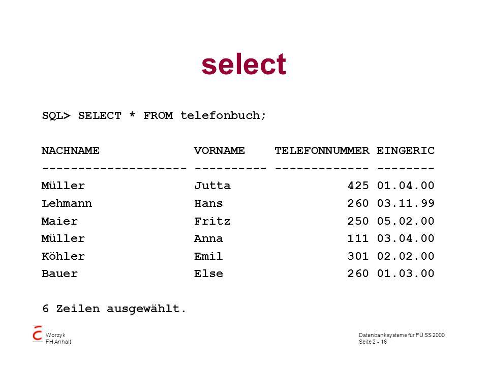 Datenbanksysteme für FÜ SS 2000 Seite 2 - 16 Worzyk FH Anhalt select SQL> SELECT * FROM telefonbuch; NACHNAME VORNAME TELEFONNUMMER EINGERIC ---------