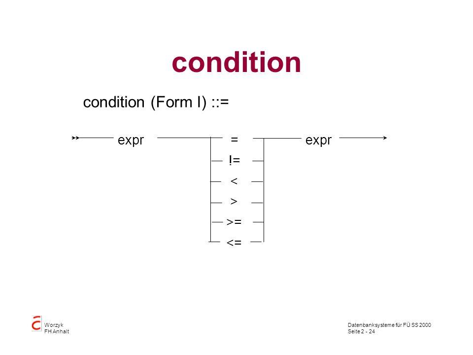 Datenbanksysteme für FÜ SS 2000 Seite 2 - 24 Worzyk FH Anhalt condition condition (Form I) ::= expr= > >=>= < != <=<=