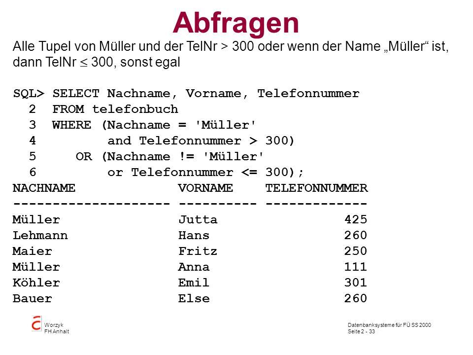 Datenbanksysteme für FÜ SS 2000 Seite 2 - 33 Worzyk FH Anhalt Abfragen Alle Tupel von Müller und der TelNr > 300 oder wenn der Name Müller ist, dann TelNr 300, sonst egal SQL> SELECT Nachname, Vorname, Telefonnummer 2 FROM telefonbuch 3 WHERE (Nachname = Müller 4 and Telefonnummer > 300) 5 OR (Nachname != Müller 6 or Telefonnummer <= 300); NACHNAME VORNAME TELEFONNUMMER -------------------- ---------- ------------- Müller Jutta 425 Lehmann Hans 260 Maier Fritz 250 Müller Anna 111 Köhler Emil 301 Bauer Else 260