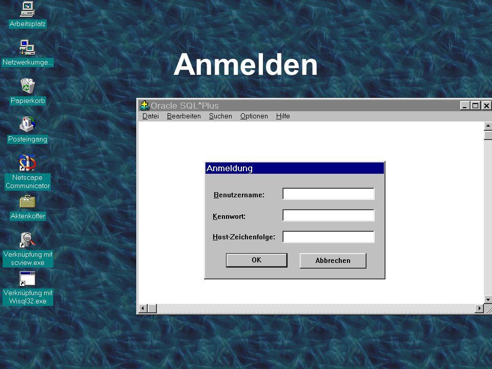 Datenbanksysteme für FÜ SS 2000 Seite 2 - 36 Worzyk FH Anhalt Anmelden