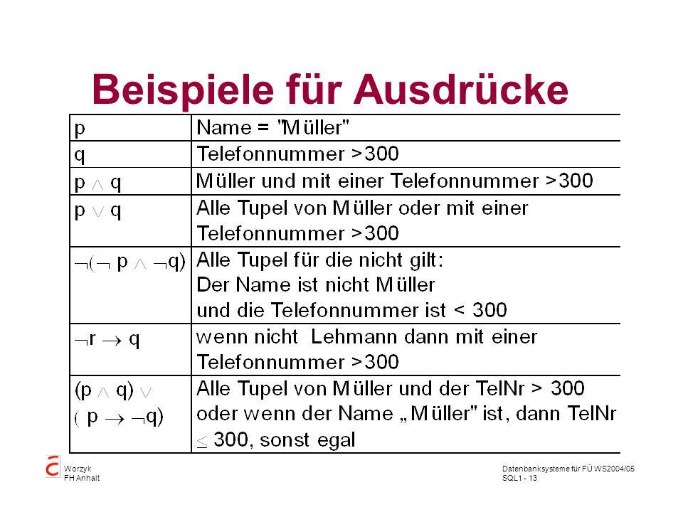 Datenbanksysteme für FÜ WS2004/05 SQL1 - 13 Worzyk FH Anhalt Beispiele für Ausdrücke