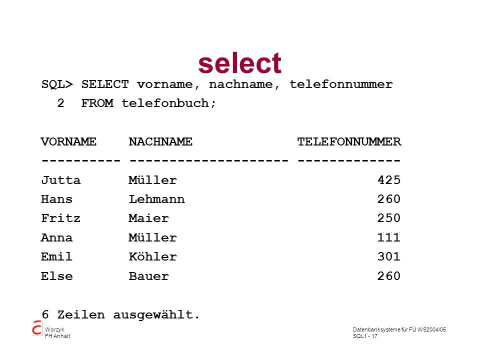 Datenbanksysteme für FÜ WS2004/05 SQL1 - 17 Worzyk FH Anhalt select SQL> SELECT vorname, nachname, telefonnummer 2 FROM telefonbuch; VORNAME NACHNAME TELEFONNUMMER ---------- -------------------- ------------- Jutta Müller 425 Hans Lehmann 260 Fritz Maier 250 Anna Müller 111 Emil Köhler 301 Else Bauer 260 6 Zeilen ausgewählt.