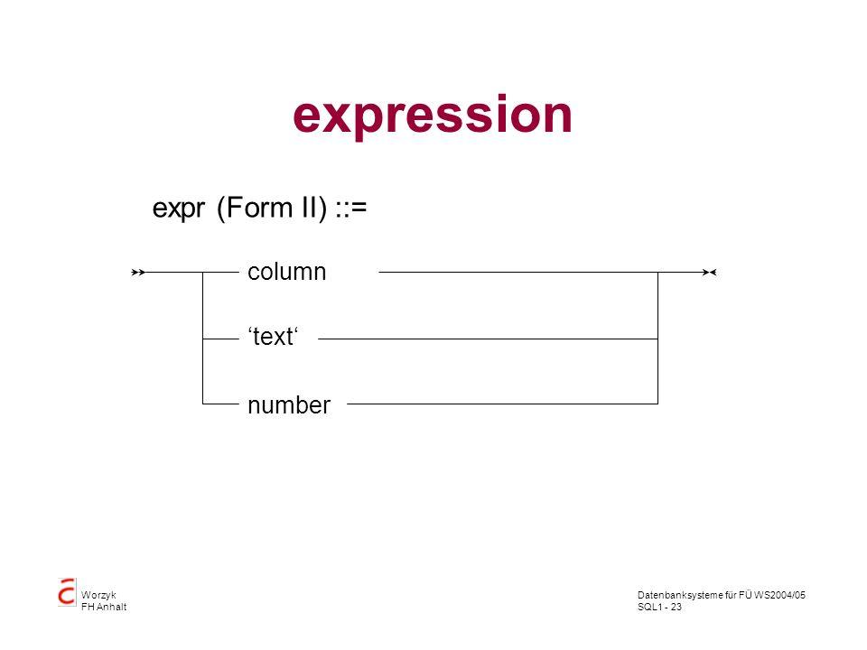 Datenbanksysteme für FÜ WS2004/05 SQL1 - 23 Worzyk FH Anhalt expression expr (Form II) ::= column text number