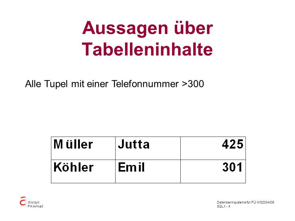 Datenbanksysteme für FÜ WS2004/05 SQL1 - 25 Worzyk FH Anhalt Abfragen Alle Tupel von Müller SQL> SELECT Nachname, Vorname, Telefonnummer 2 FROM telefonbuch 3 WHERE nachname = Müller ; NACHNAME VORNAME TELEFONNUMMER ------------------- ---------- ------------- Müller Jutta 425 Müller Anna 111