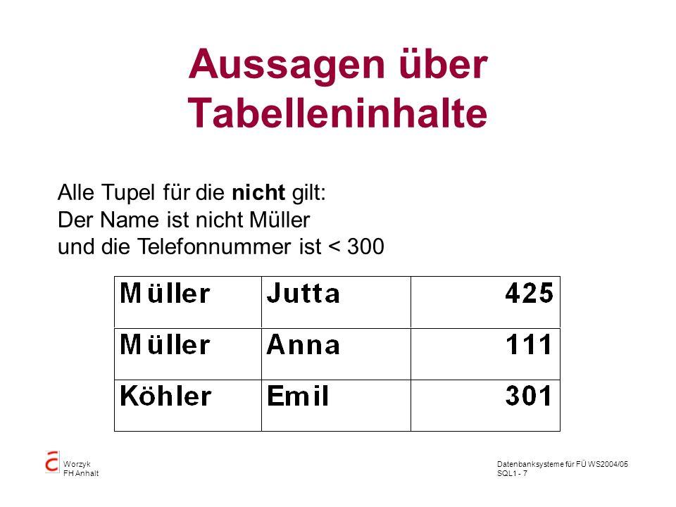 Datenbanksysteme für FÜ WS2004/05 SQL1 - 7 Worzyk FH Anhalt Aussagen über Tabelleninhalte Alle Tupel für die nicht gilt: Der Name ist nicht Müller und die Telefonnummer ist < 300