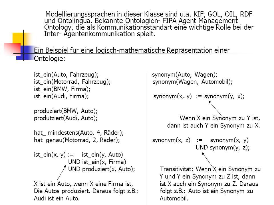 Modellierungssprachen in dieser Klasse sind u.a. KIF, GOL, OIL, RDF und Ontolingua. Bekannte Ontologien- FIPA Agent Management Ontology, die als Kommu